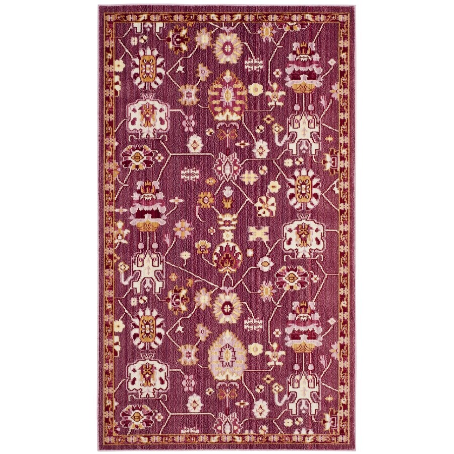 Safavieh Valencia Hollis Fuchsia Indoor Distressed Throw Rug (Common: 3 x 5; Actual: 3-ft W x 5-ft L)