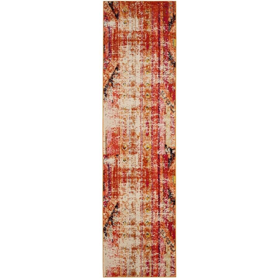 Safavieh Monaco Kolby Orange/Multi Rectangular Indoor Machine-made Distressed Runner (Common: 2 x 12; Actual: 2.2-ft W x 12-ft L)