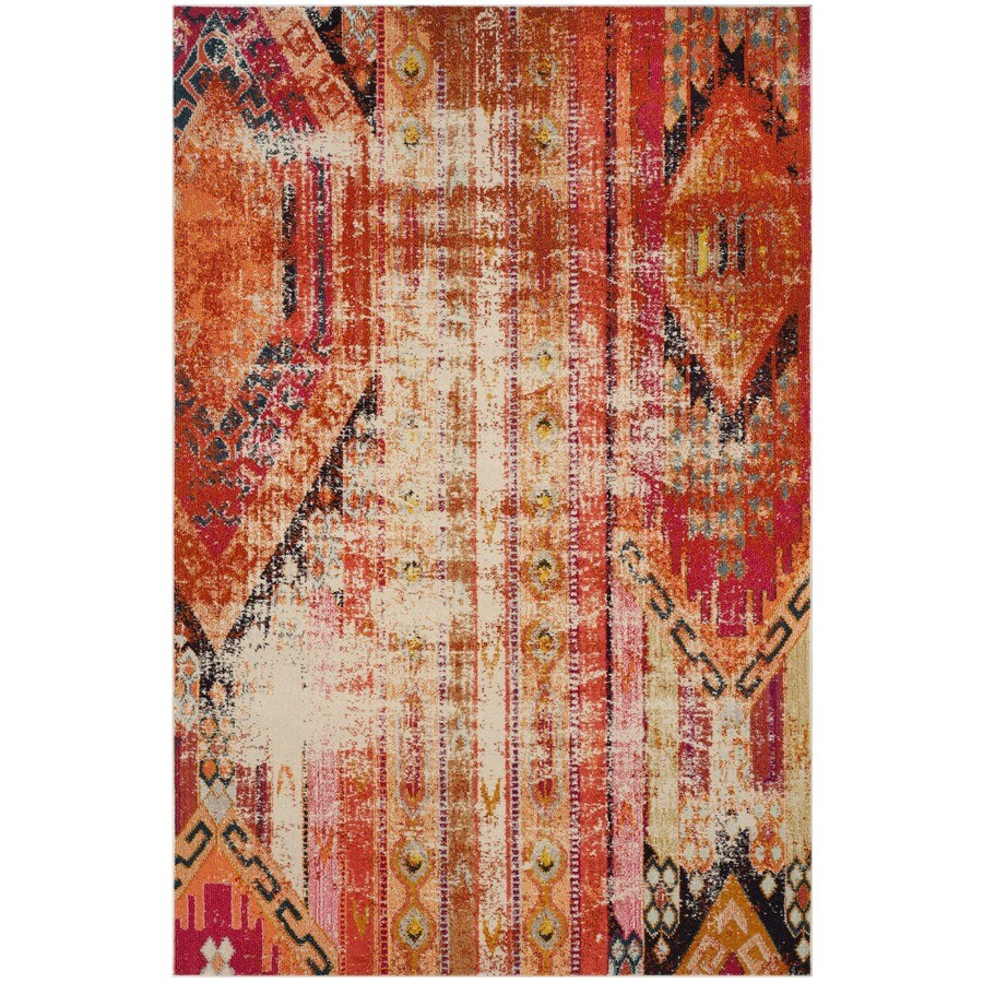 Safavieh Monaco Kolby Orange/Multi Rectangular Indoor Machine-made Distressed Area Rug (Common: 5 x 8; Actual: 5.1-ft W x 7.6-ft L)