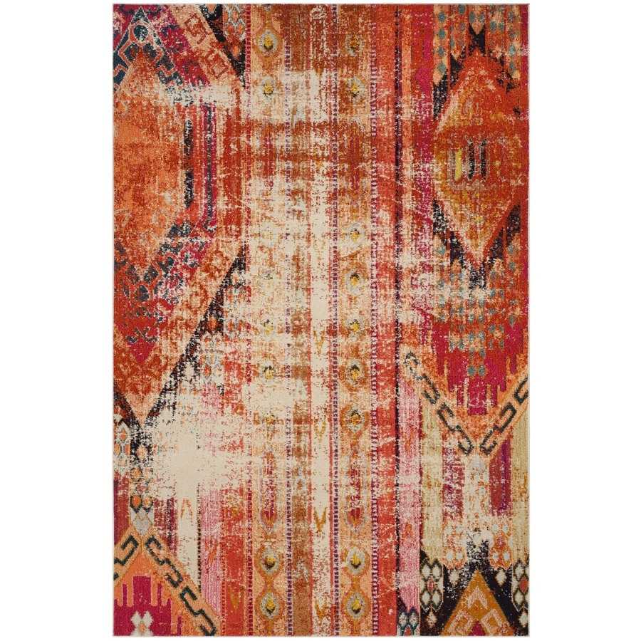 Safavieh Monaco Kolby Orange Indoor Distressed Area Rug (Common: 7 x 9; Actual: 6.7-ft W x 9.2-ft L)