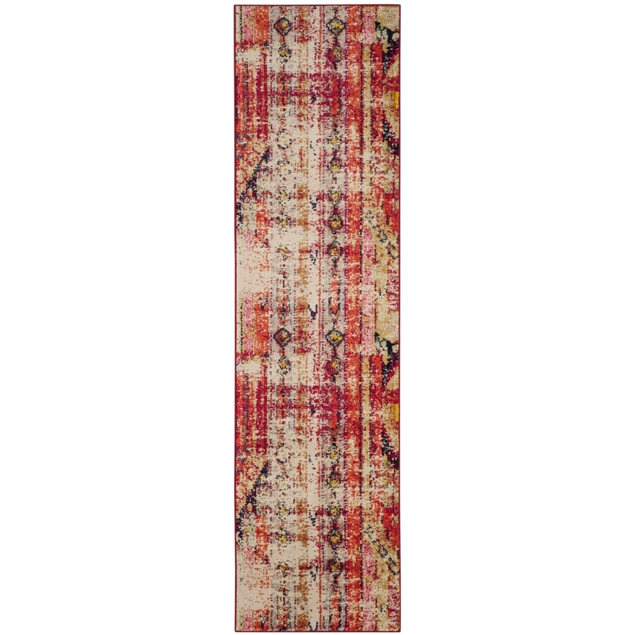 Safavieh Monaco Kolby Magenta Indoor Distressed Runner (Common: 2 x 12; Actual: 2.2-ft W x 12-ft L)