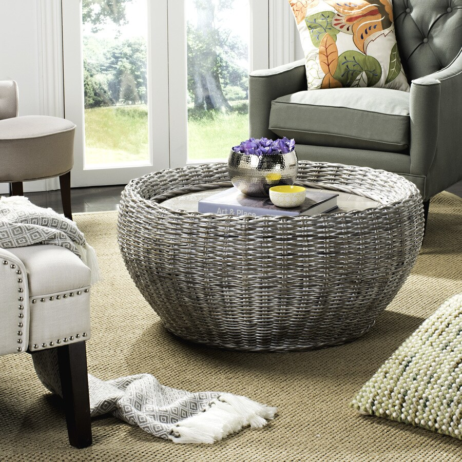 Safavieh Alley Summer Gray Whitewash Round Coffee Table At Lowes Com