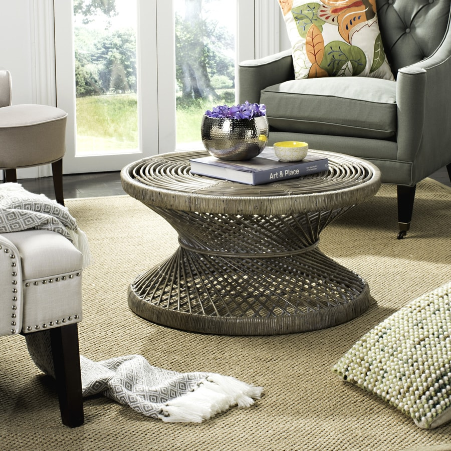 Small Grey Rattan Coffee Table: Safavieh Grimson Gray White Wash Wicker Round Coffee Table