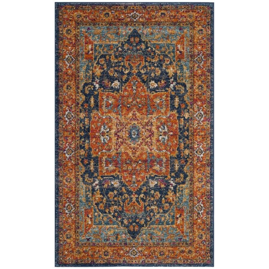 Safavieh Evoke Livia Blue/Orange Rectangular Indoor Machine-Made Oriental Area Rug (Common: 4 x 6; Actual: 4-ft W x 6-ft L)