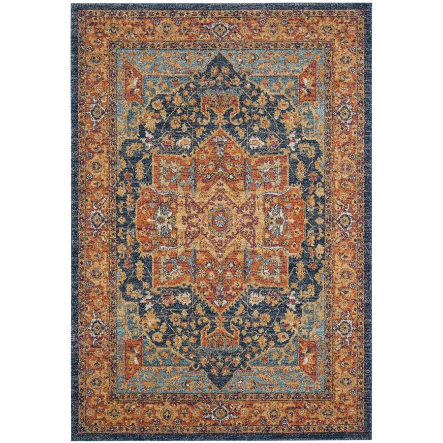 Safavieh Evoke Livia Blue/Orange Indoor Oriental Area Rug (Common: 5 x 8; Actual: 5.1-ft W x 7.5-ft L)