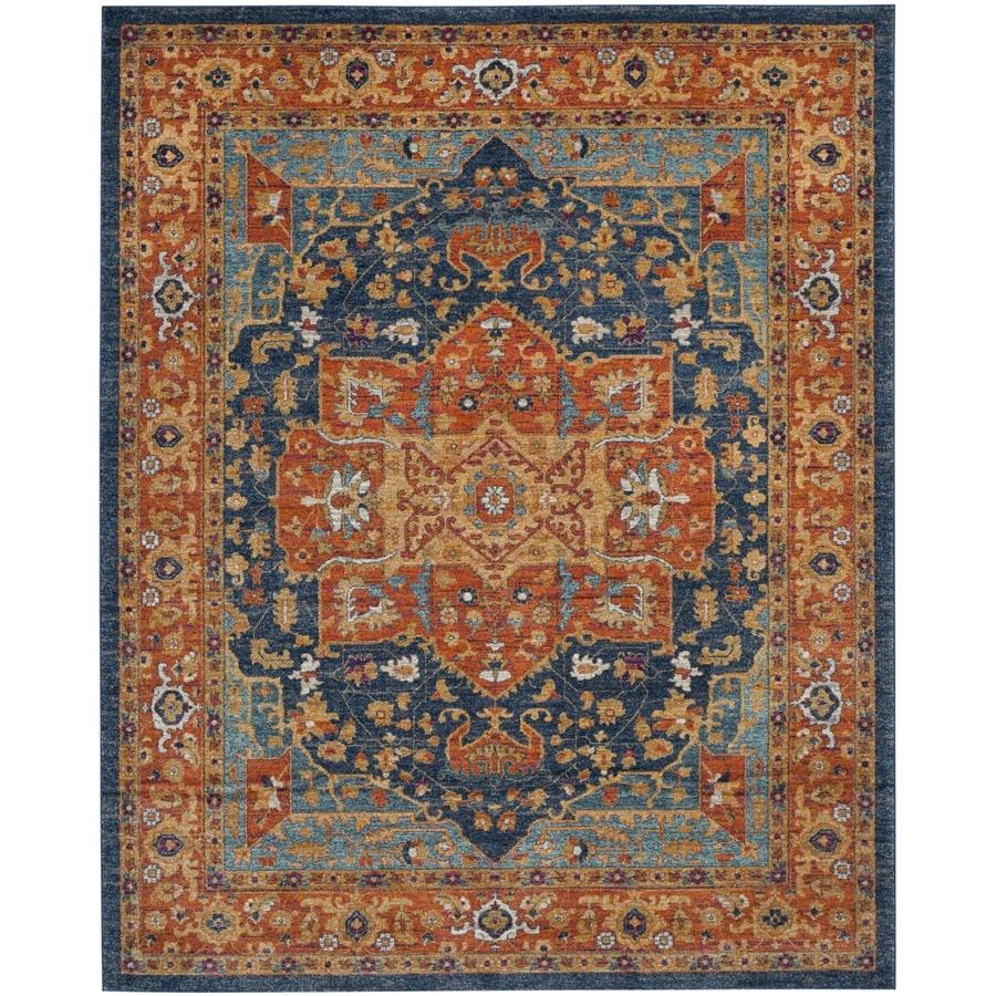 Safavieh Evoke Livia Blue/Orange Rectangular Indoor Machine-Made Oriental Area Rug (Common: 6 x 9; Actual: 6.6-ft W x 9-ft L)
