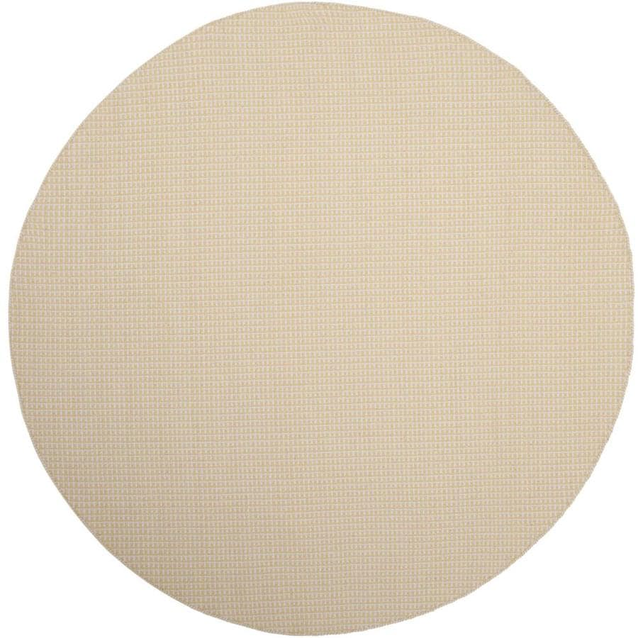 Safavieh Montauk Noosa Ivory/Yellow Round Indoor Handcrafted Coastal Area Rug (Common: 6 x 6; Actual: 6-ft W x 6-ft L x 6-ft dia)