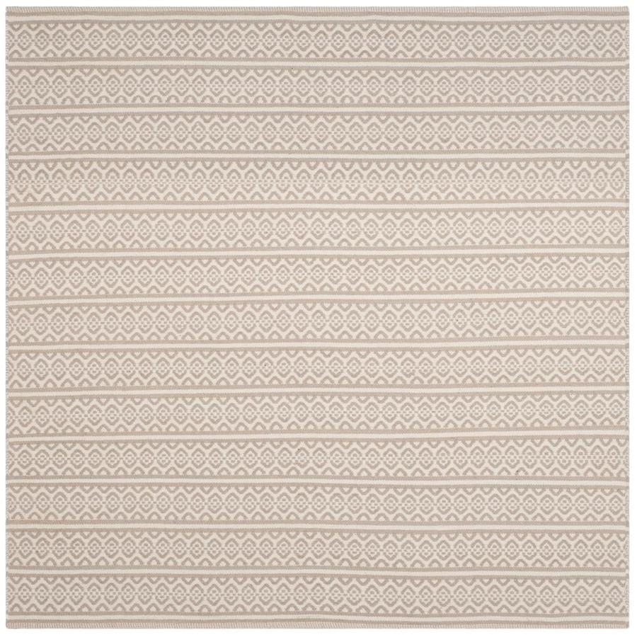 Safavieh Montauk Burleigh Ivory/Gray Square Indoor Handcrafted Coastal Area Rug (Common: 6 x 6; Actual: 6-ft W x 6-ft L)