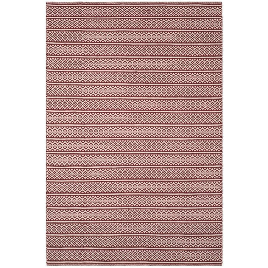 Safavieh Montauk Burleigh Ivory/Red Indoor Handcrafted Coastal Area Rug (Common: 8 x 10; Actual: 8-ft W x 10-ft L)