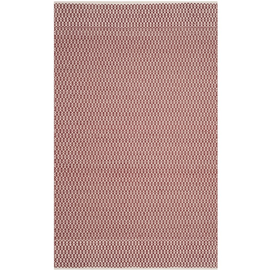 Safavieh Montauk Mandalay Ivory/Red Indoor Handcrafted Coastal Area Rug (Common: 5 x 8; Actual: 5-ft W x 8-ft L)
