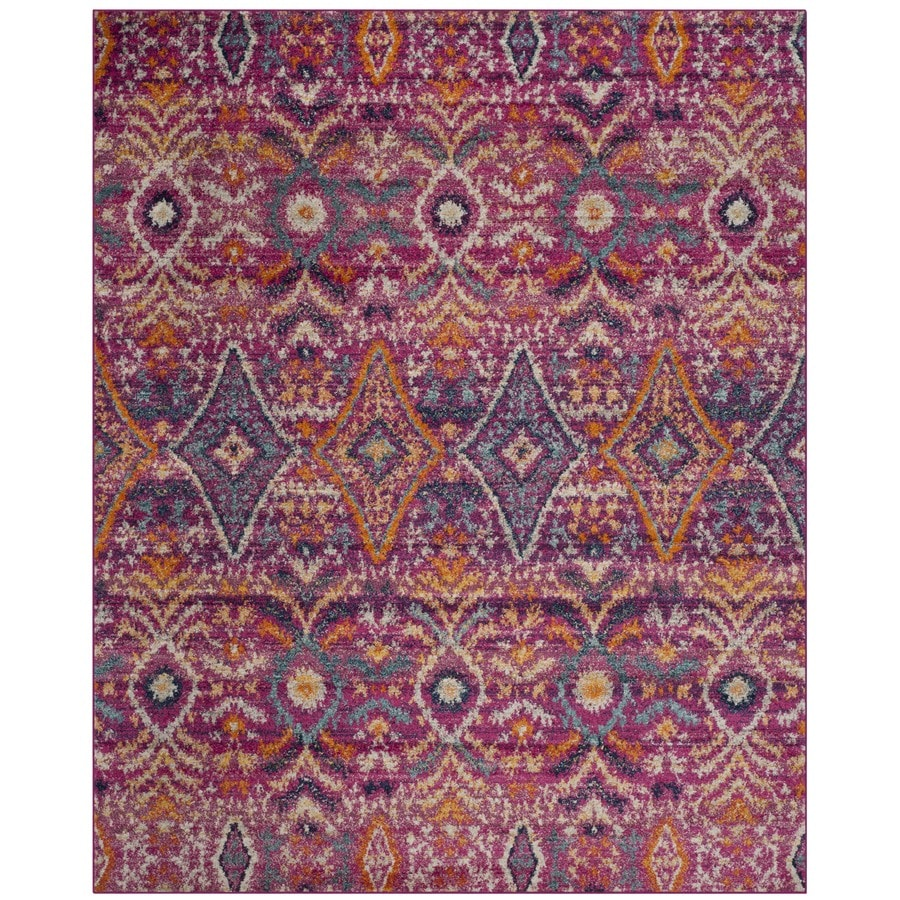 Safavieh Madison Loma Fuchsia/Multi Rectangular Indoor Machine-Made Lodge Area Rug (Common: 8 x 10; Actual: 8-ft W x 10-ft L)