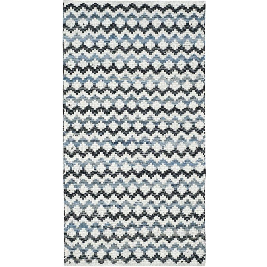 Safavieh Montauk Surfside Ivory Blue/Black Rectangular Indoor Handcrafted Coastal Throw Rug (Common: 3 x 4; Actual: 2.5-ft W x 4-ft L)