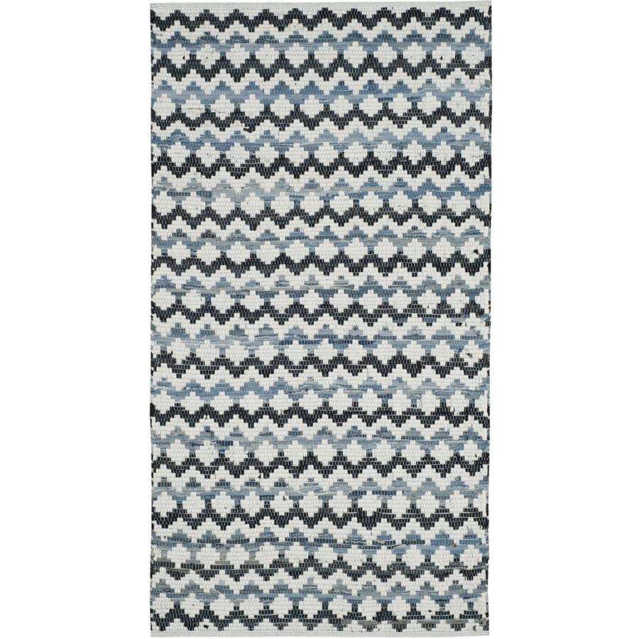 Safavieh Montauk Surfside Ivory Blue/Black Rectangular Indoor Handcrafted Coastal Throw Rug (Common: 3 x 5; Actual: 3-ft W x 5-ft L)
