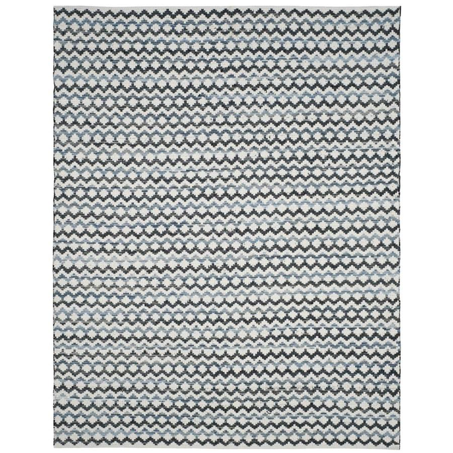 Safavieh Montauk Surfside Ivory Blue/Black Rectangular Indoor Handcrafted Coastal Area Rug (Common: 9 x 12; Actual: 9-ft W x 12-ft L)