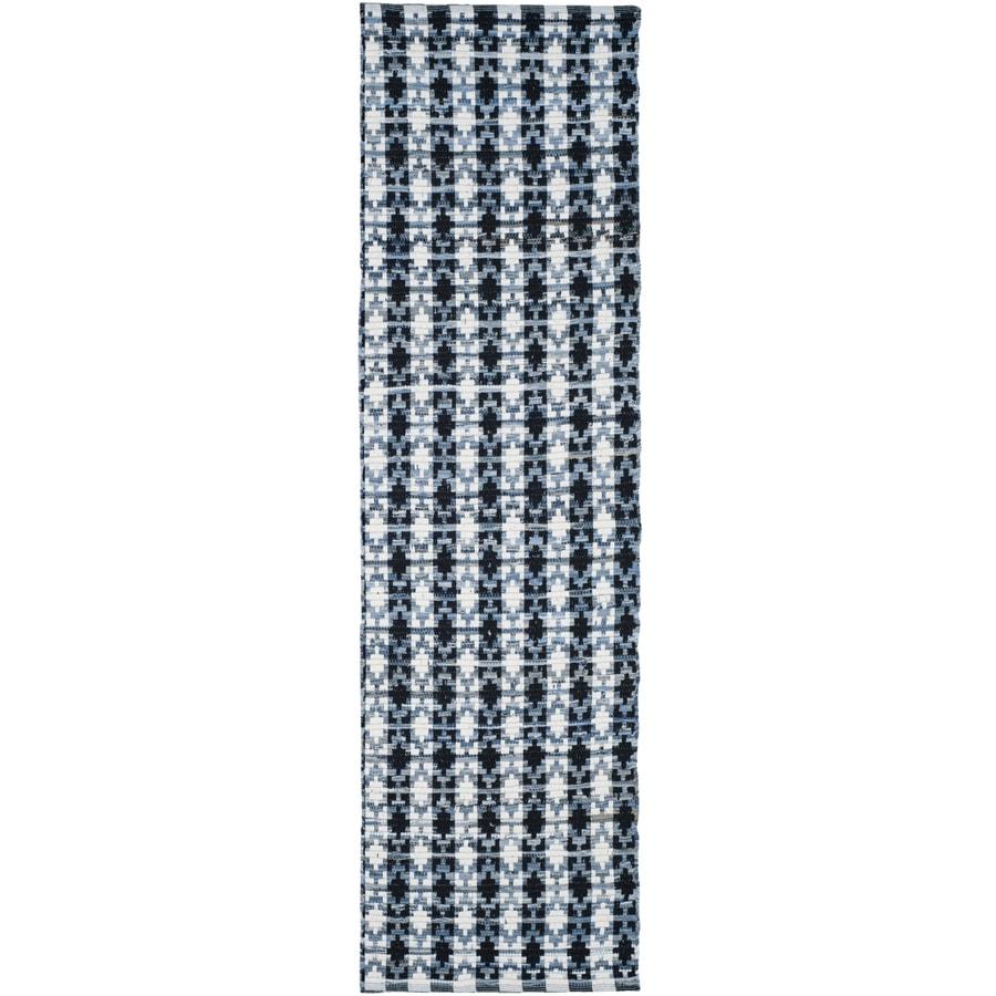 Safavieh Montauk Bondi Ivory Blue/Black Indoor Handcrafted Coastal Runner (Common: 2 x 8; Actual: 2.3-ft W x 8-ft L)