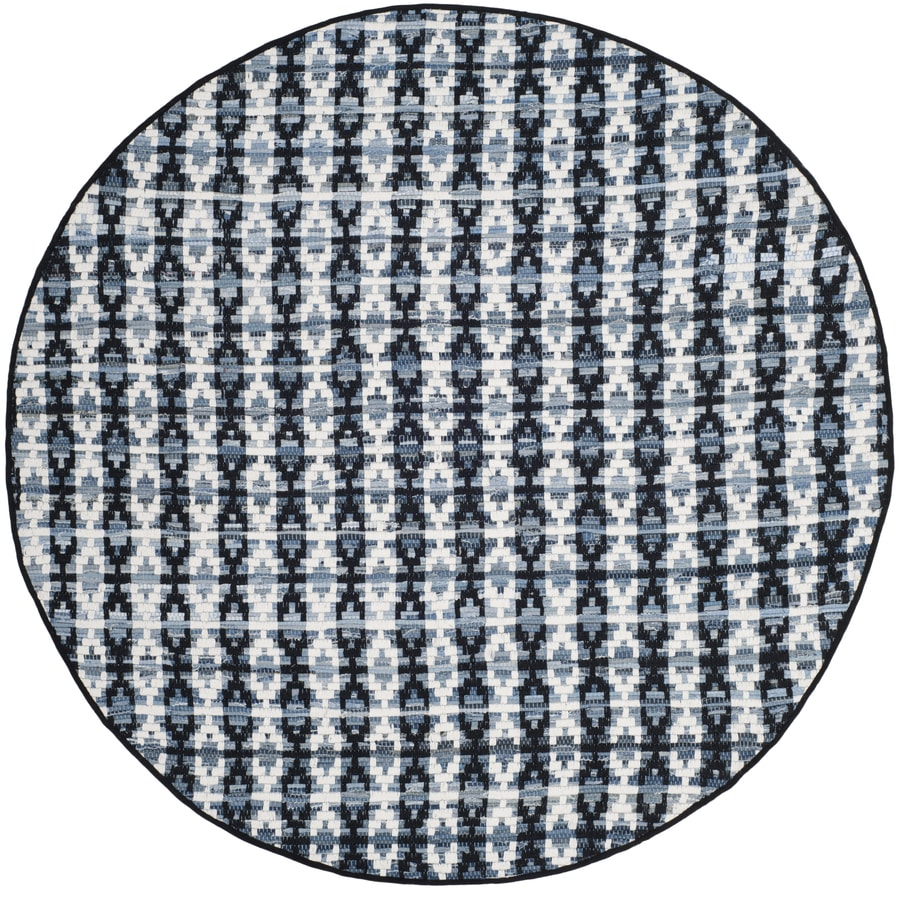 Safavieh Montauk Bondi Ivory Blue/Black Round Indoor Handcrafted Coastal Area Rug (Common: 6 x 6; Actual: 6-ft W x 6-ft L x 6-ft dia)