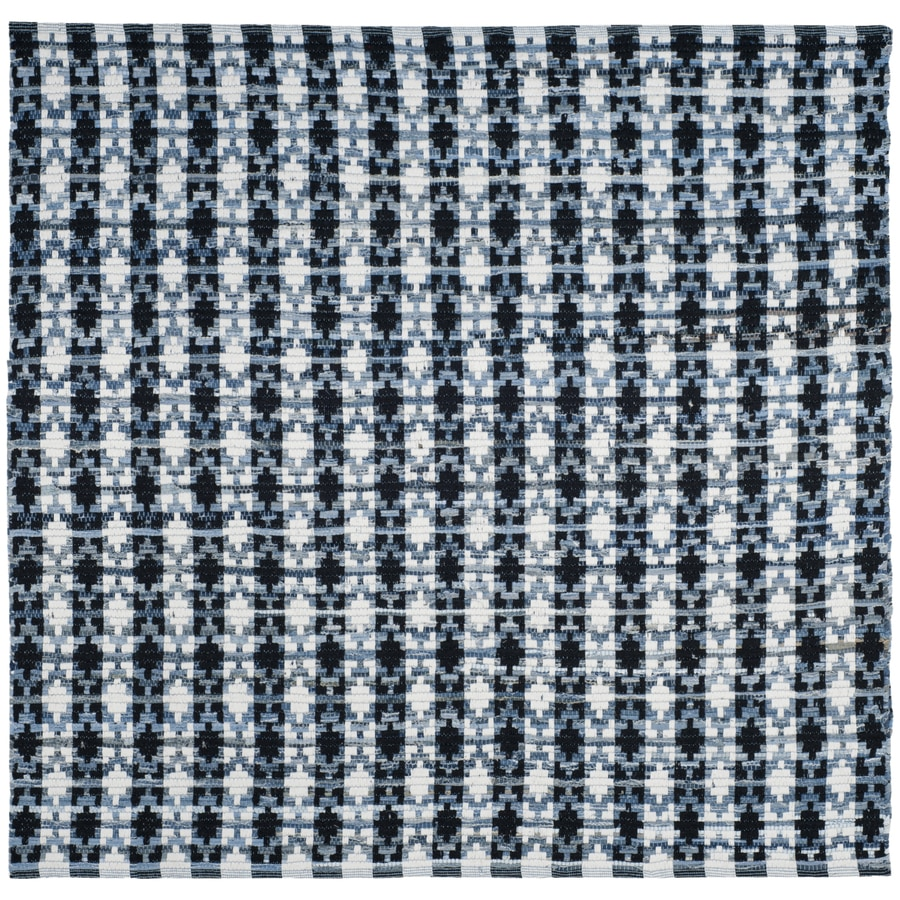 Safavieh Montauk Bondi Ivory Blue/Black Square Indoor Handcrafted Coastal Area Rug (Common: 6 x 6; Actual: 6-ft W x 6-ft L)