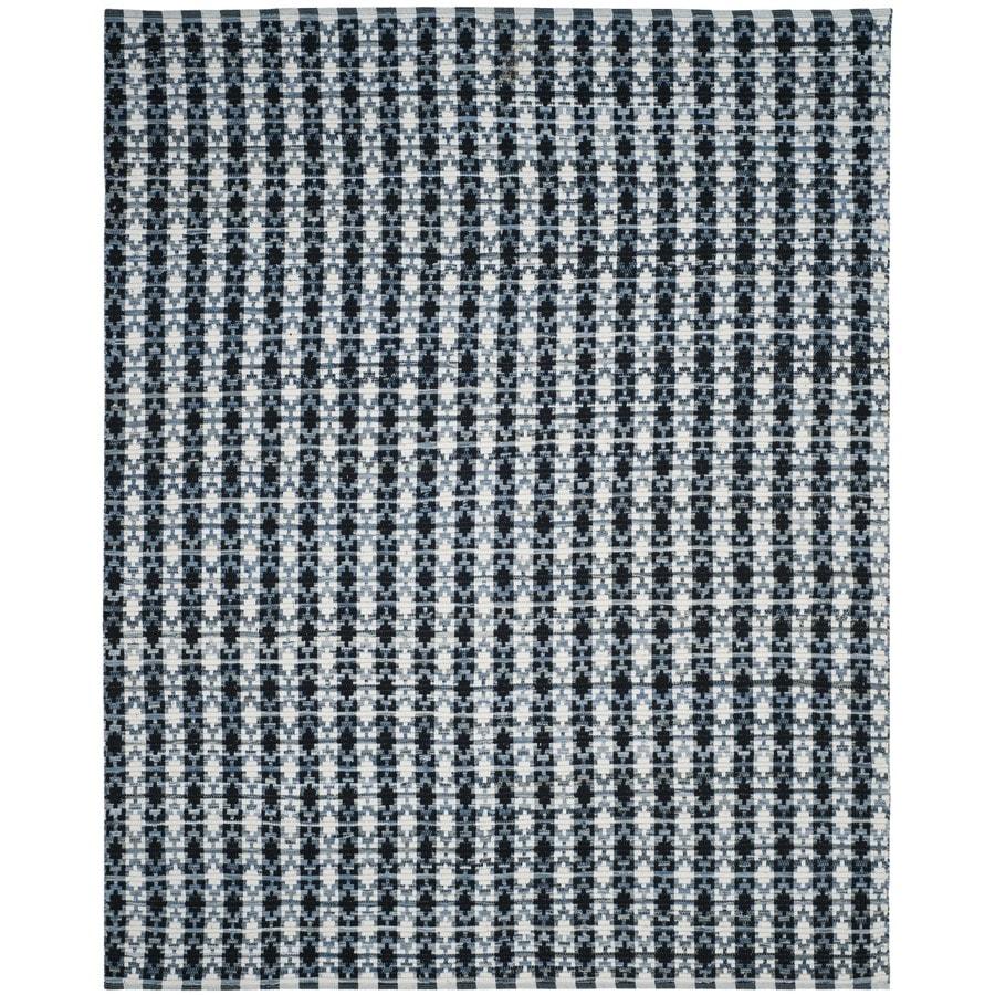Safavieh Montauk Bondi Ivory Blue/Black Indoor Handcrafted Coastal Area Rug (Common: 8 x 10; Actual: 8-ft W x 10-ft L)