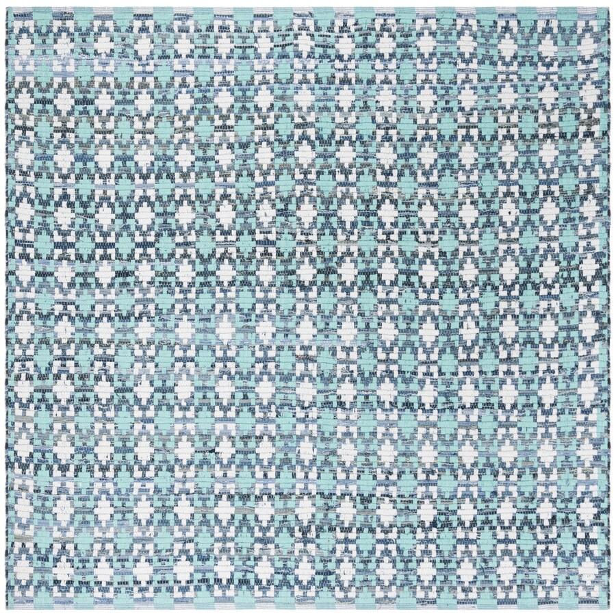 Safavieh Montauk Bondi Turquoise Square Indoor Handcrafted Coastal Area Rug (Common: 4 x 4; Actual: 4-ft W x 4-ft L)