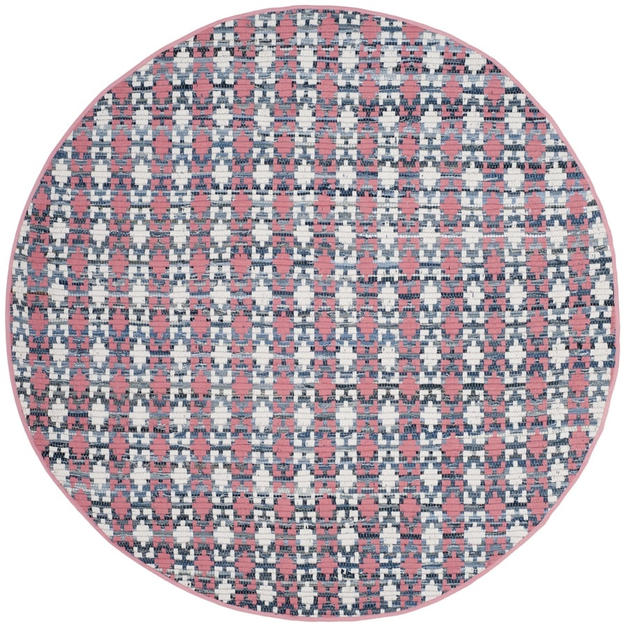 Safavieh Montauk Bondi Coral Round Indoor Handcrafted Coastal Area Rug (Common: 4 x 4; Actual: 4-ft W x 4-ft L x 4-ft dia)