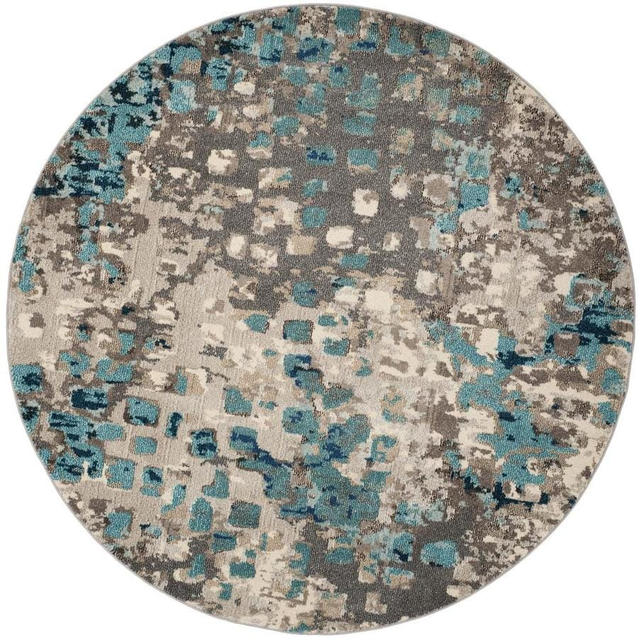 Safavieh Monaco Gogh Gray/Light Blue Round Indoor Area Rug (Common: 7 x 7; Actual: 6.7-ft W x 6.6-ft L x 6.6-ft dia)