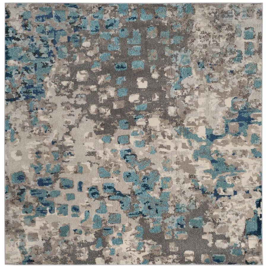 Safavieh Monaco Gogh Gray/Light Blue Square Indoor Machine-Made Area Rug (Common: 7 x 7; Actual: 6.6-ft W x 6.6-ft L x 0-ft dia)