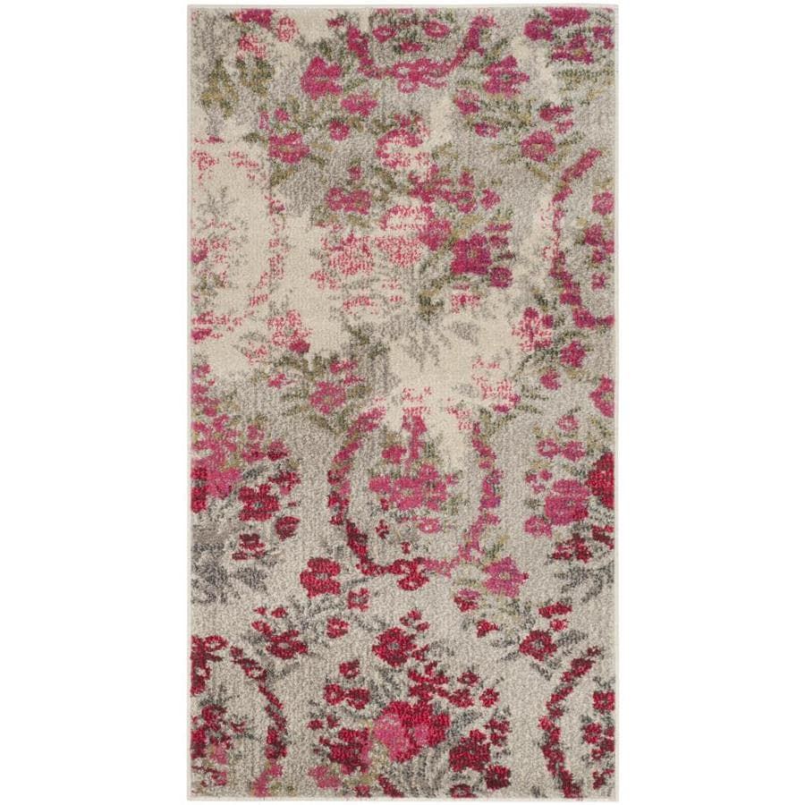 Safavieh Monaco Decatur Ivory/Pink Indoor Distressed Throw Rug (Common: 3 x 5; Actual: 3-ft W x 5-ft L)