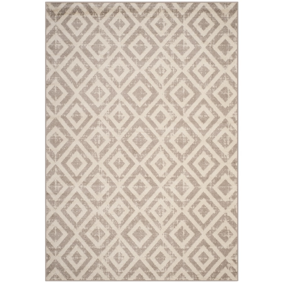 Safavieh Amsterdam Huron Ivory/Gray Rectangular Indoor Machine-Made Lodge Area Rug (Common: 7 x 9; Actual: 6.6-ft W x 9.2-ft L)