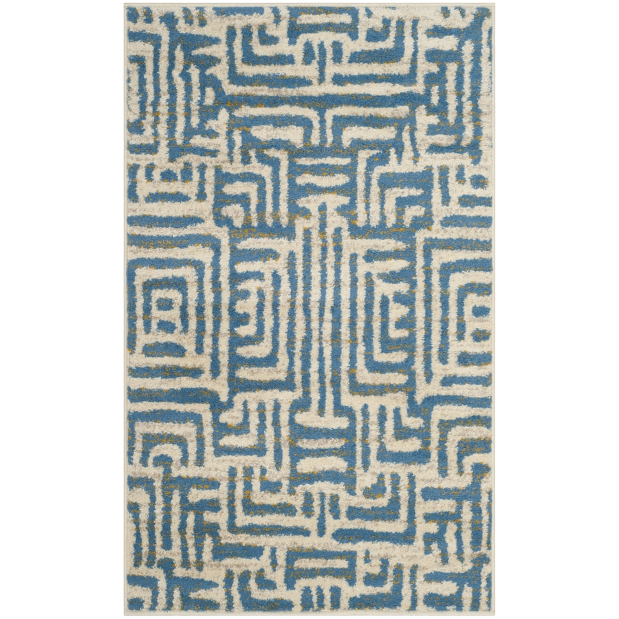 Safavieh Amsterdam Huron Ivory/Light Blue Indoor Lodge Throw Rug (Common: 3 x 5; Actual: 3-ft W x 5-ft L)