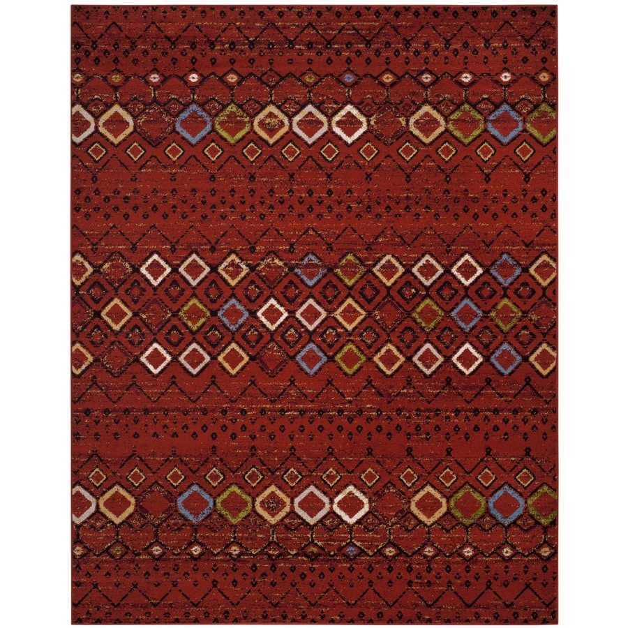 Safavieh Amsterdam Huron Terracotta/Multi Rectangular Indoor Machine-made Lodge Area Rug (Common: 9 x 12; Actual: 9-ft W x 12-ft)