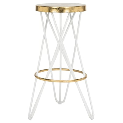 Excellent Safavieh Lorna Gold Leaf White Gold Bar Stool At Lowes Com Andrewgaddart Wooden Chair Designs For Living Room Andrewgaddartcom
