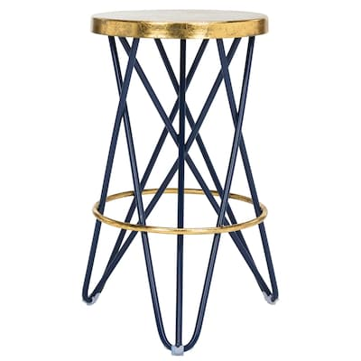 Terrific Safavieh Lorna Navy Gold Counter Stool At Lowes Com Andrewgaddart Wooden Chair Designs For Living Room Andrewgaddartcom