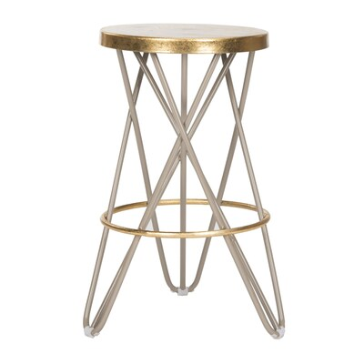 Wondrous Safavieh Lorna Gold Leaf Beige Gold Counter Stool At Lowes Com Andrewgaddart Wooden Chair Designs For Living Room Andrewgaddartcom