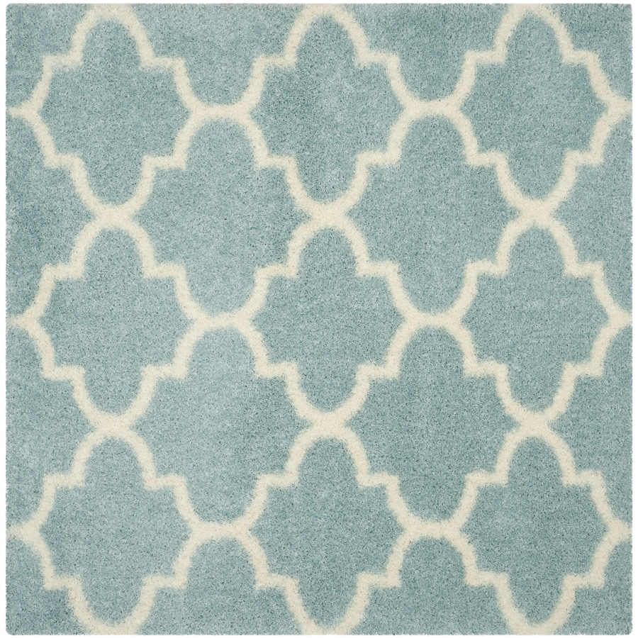 Safavieh Montreal Mirabel Shag Light Blue/Ivory Square Indoor Area Rug (Common: 7 x 7; Actual: 6.6-ft W x 6.6-ft L)