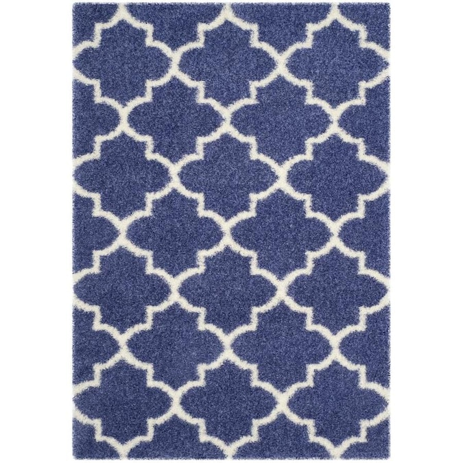 Safavieh Montreal Mirabel Shag 5 X 8 Periwinkle Ivory Indoor Trellis Area Rug In The Rugs Department At Lowes Com