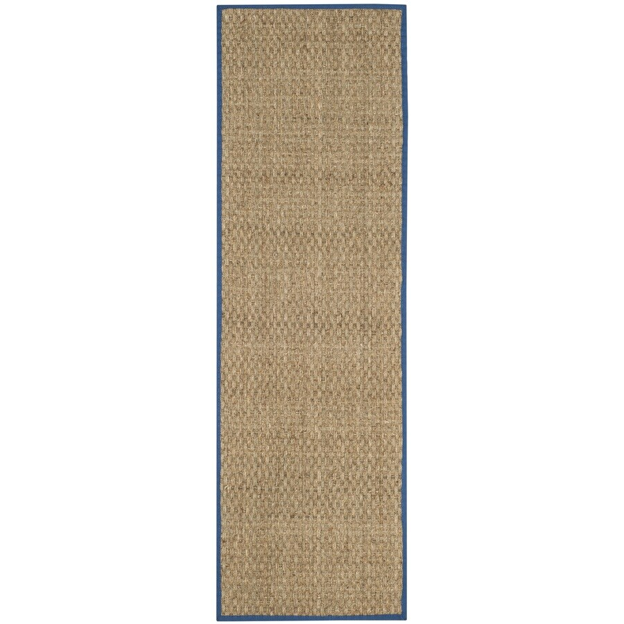 Safavieh Natural Fiber Hampton Natural/Navy Indoor Coastal Runner (Common: 2 x 8; Actual: 2.5-ft W x 8-ft L)