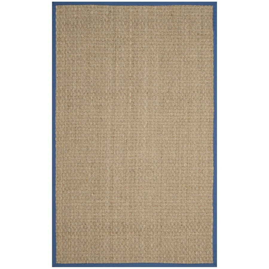 Safavieh Natural Fiber Hampton Natural/Navy Rectangular Indoor Machine-Made Coastal Area Rug (Common: 6 x 9; Actual: 6-ft W x 9-ft L)