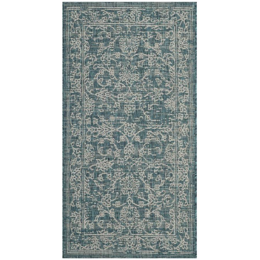 Safavieh Courtyard Providence Turquoise Rectangular Indoor/Outdoor Machine-made Coastal Throw Rug (Common: 2 x 5; Actual: 2.58-ft W x 5-ft L)