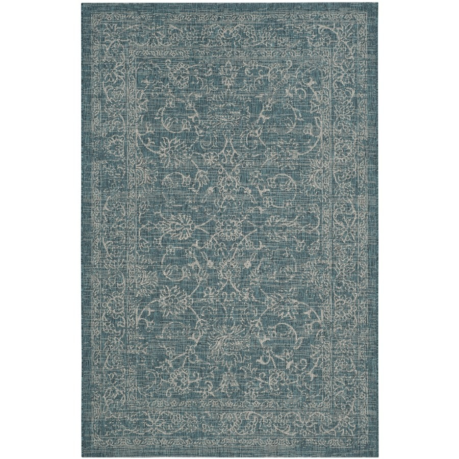 Safavieh Courtyard Providence Turquoise Rectangular Indoor/Outdoor Machine-made Coastal Area Rug (Common: 4 x 5; Actual: 4-ft W x 5.58-ft L)
