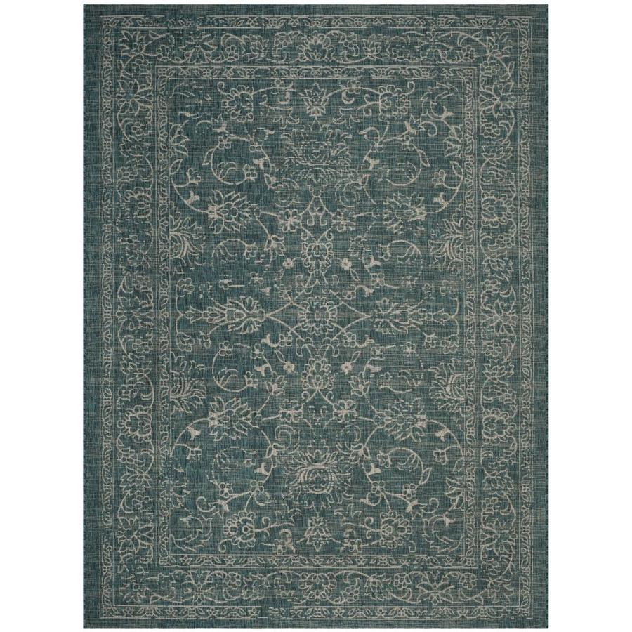 Safavieh Courtyard Providence Turquoise Rectangular Indoor/Outdoor Machine-made Coastal Area Rug (Common: 6 x 9; Actual: 6.58-ft W x 9.5-ft L)