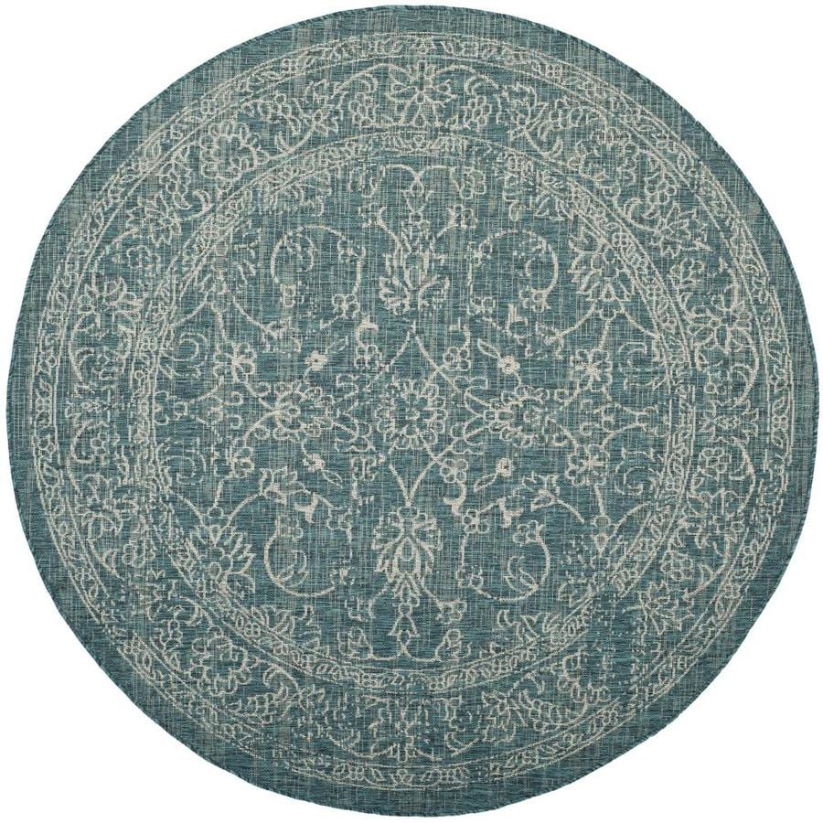 Safavieh Courtyard Providence Turquoise Round Indoor/Outdoor Machine-made Coastal Area Rug (Common: 6 x 6; Actual: 6.58-ft W x 6.58-ft L x 6.58-ft Dia)