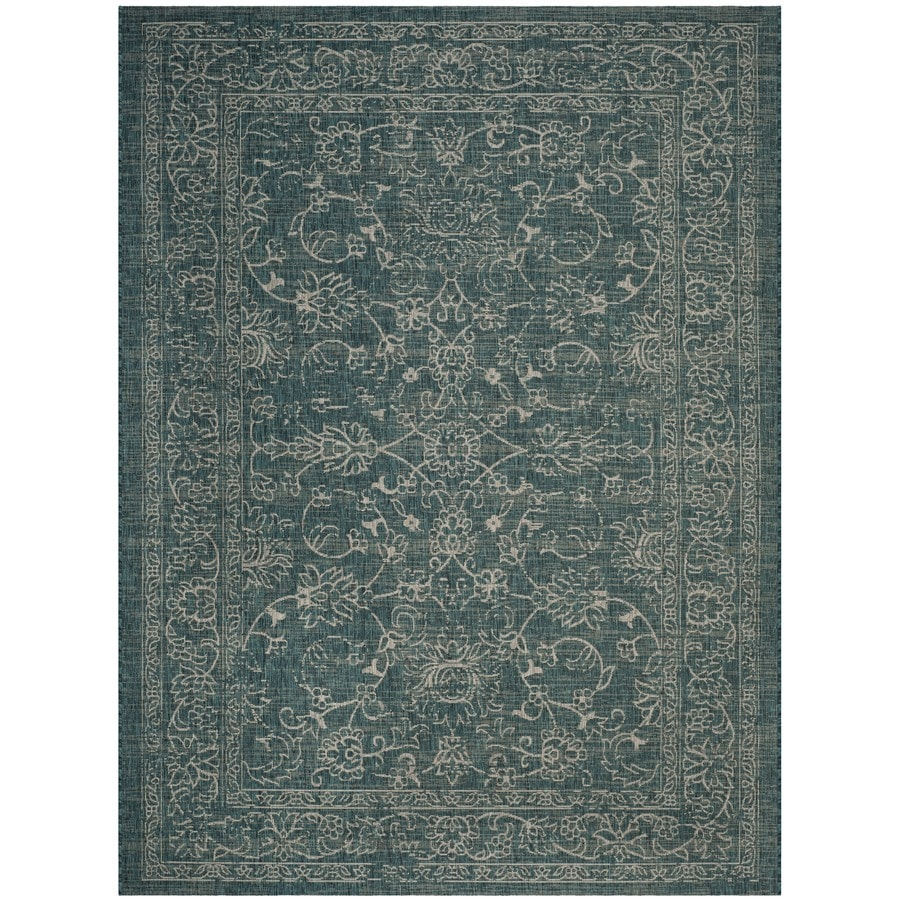 Safavieh Courtyard Providence Turquoise Rectangular Indoor/Outdoor Machine-made Coastal Area Rug (Common: 8 x 11; Actual: 8-ft W x 11-ft L)