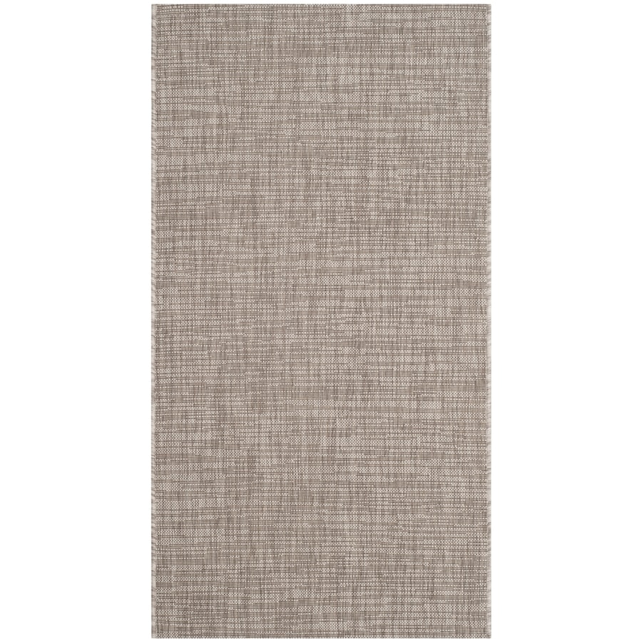 Safavieh Courtyard Acklins Light Brown Rectangular Indoor/Outdoor Machine-Made Coastal Throw Rug (Common: 2 x 5; Actual: 2.58-ft W x 5-ft L)