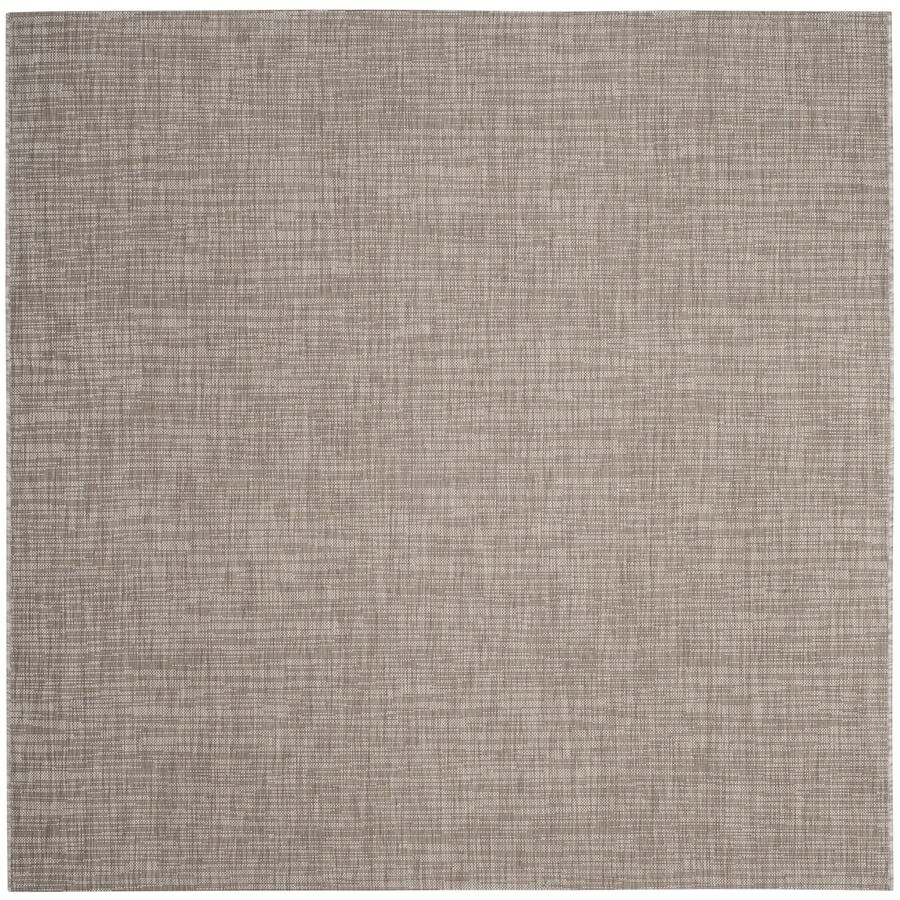 Safavieh Courtyard Acklins Light Brown Square Indoor/Outdoor Machine-made Coastal Area Rug (Common: 6 x 6; Actual: 6.58-ft W x 6.58-ft L)