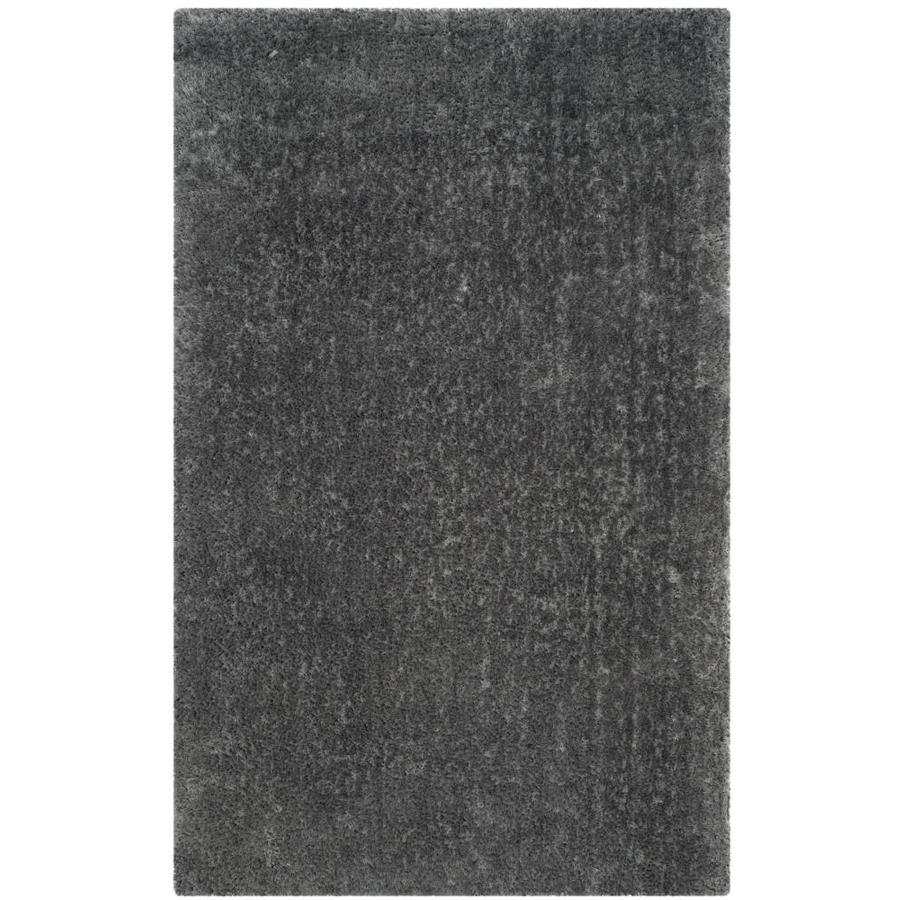 Safavieh Luxe Shag Gray Handcrafted Area Rug (Common: 5 x 8; Actual: 5-ft W x 8-ft L)