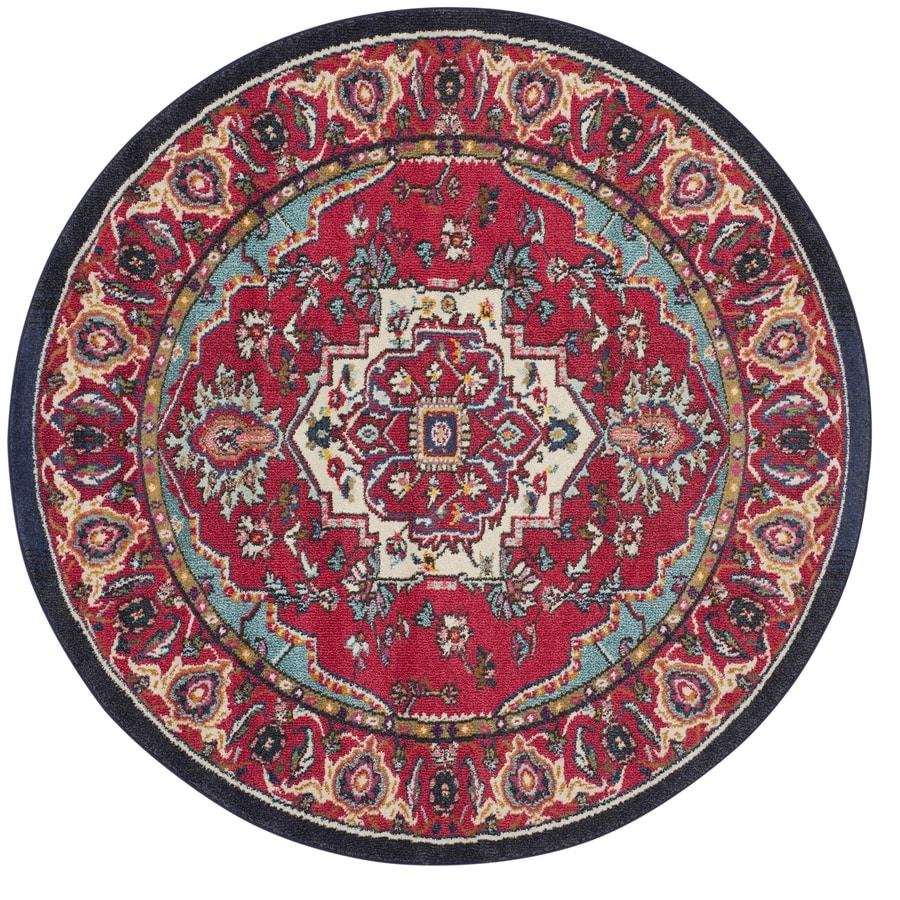 Safavieh Monaco Heritage Red/Turquoise Round Indoor Oriental Area Rug (Common: 5 x 5; Actual: 5-ft W x 5-ft L x 5-ft dia)