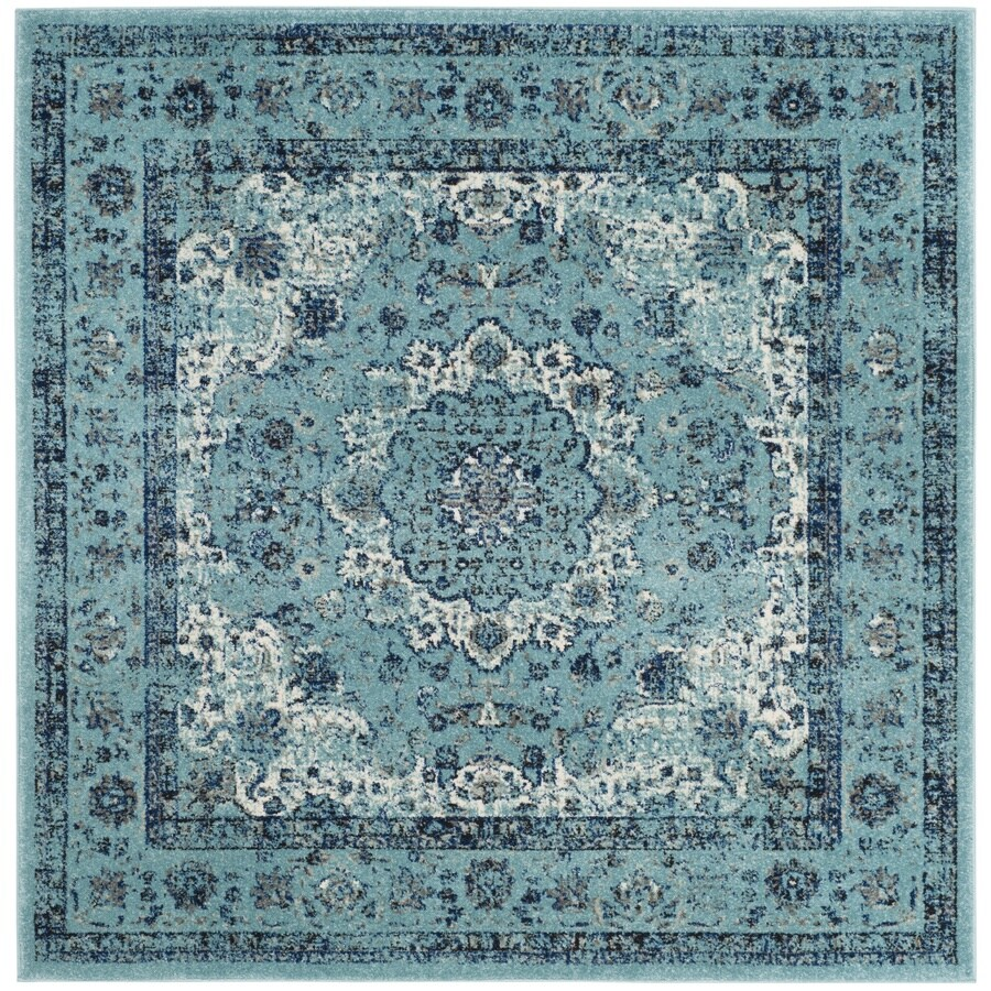 Safavieh Evoke Savoy Light Blue/Light Blue Square Indoor Machine-Made Oriental Area Rug (Common: 9 x 9; Actual: 9-ft W x 9-ft L)
