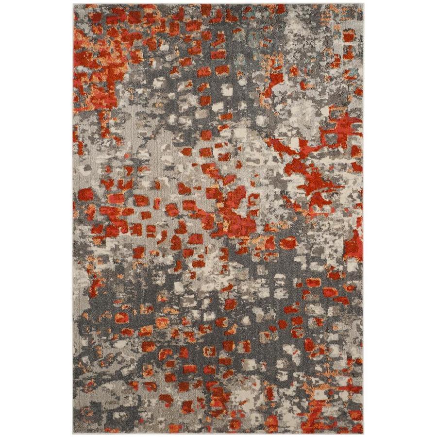 Safavieh Monaco Gogh Gray/Orange Indoor Area Rug (Common: 7 x 9; Actual: 6.7-ft W x 9.2-ft L)