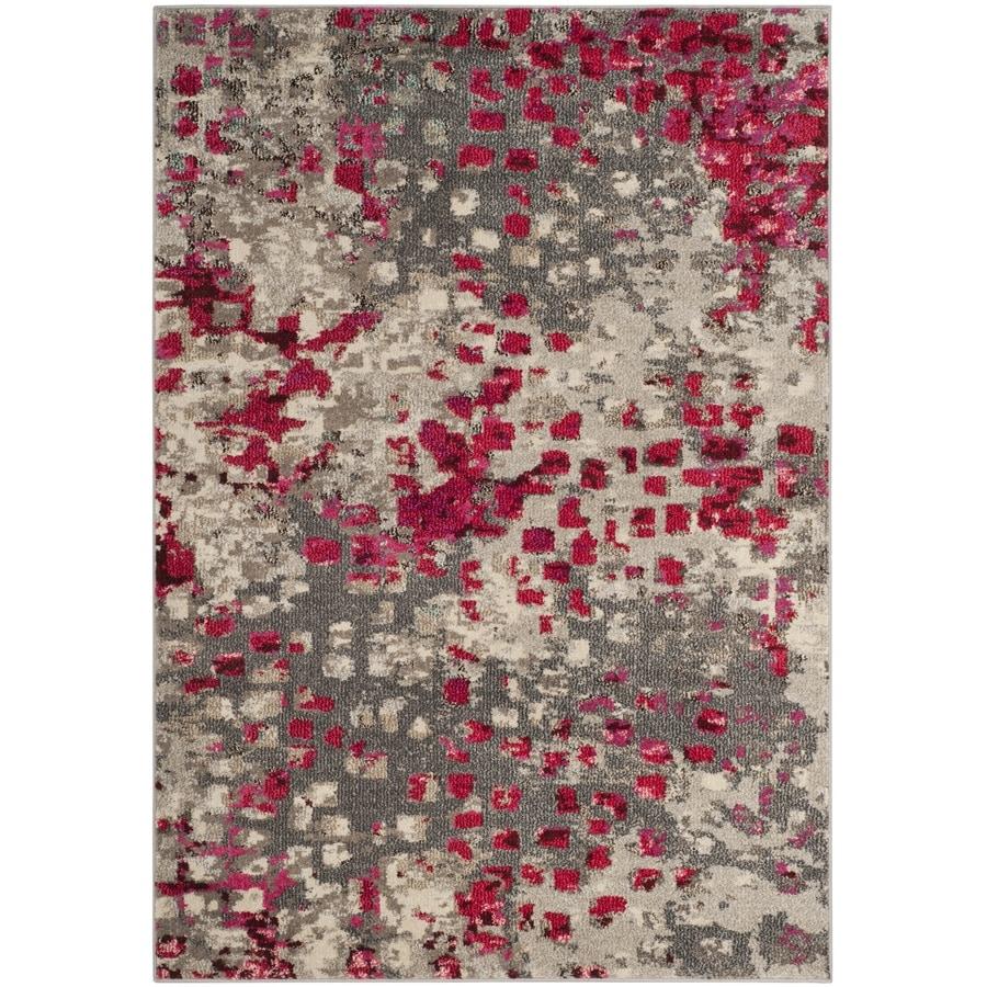Safavieh Monaco Gogh Gray/Fuchsia Indoor Area Rug (Common: 4 x 6; Actual: 4-ft W x 5.6-ft L)