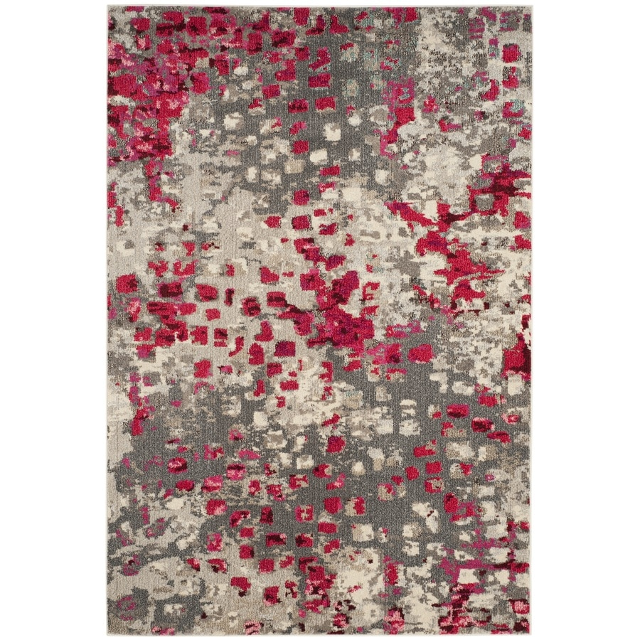 Safavieh Monaco Gogh Gray/Fuchsia Rectangular Indoor Machine-made Area Rug (Common: 6 x 9; Actual: 6.6-ft W x 9.2-ft L)